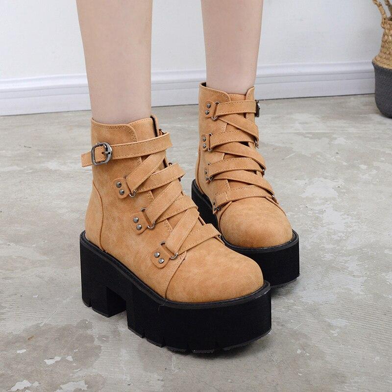 Gdgydh Printemps Automne bottines Femmes Plate-Forme Bottes semelle en caoutchouc Boucle Noir En Cuir PU talons hauts chaussures pour femme Confortable - 5