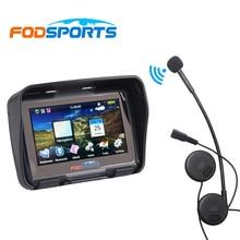 цена на Fodsports 4.3 Inch motorcycle navigation motorbike waterproof GPS navigator with moto bluetooth Helmet headset free map