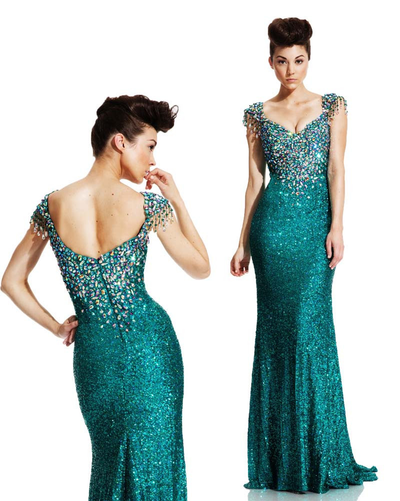 Vestidos De Festa Long   Prom     Dresses   2015 Vestido Longo Elegant Evening   Prom   Gowns Sequined Crystal Evening   Dress