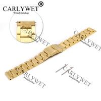 CARLYWET 22mm Neue Stil Gold Stahl Solide Verbindungen Uhrenarmband-bügel-armband Für Samsung Getriebe S3 smart Freigegeben Frühling Bar