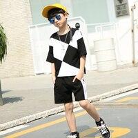 Boy Summer Set Children Tracksuits Plaid Tshirt Harem Pant Fashion Boy Clothes Kids Hip Hop Clothing