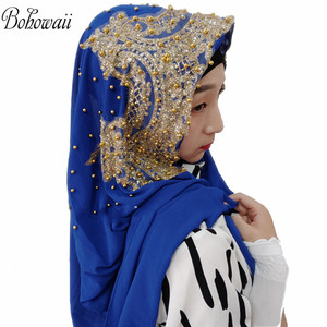 Image 5 - BOHOWAII Muslim Jersey Hijab 25colors Femme Musulman Gold Diamonds Sequins Long Scarf Hijabs Hoofddoek Fashion Chiffon Turbante
