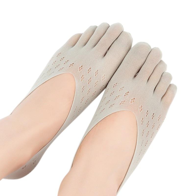 Openhartig Dames Fluwelen Pruim Sok Ademend Slippers Mesh Onzichtbare Ondiepe Siliconen Boot Sokken Vijf Vinger Sok Slippers