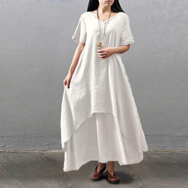 c006cda639 Women Cotton Linen Large Size Summer Dresses 2018 Spring Women  s  Pastorable Rural Casual Loose Short Sleeve Long Maxi Dress
