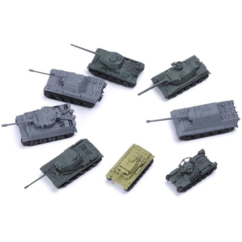 8 teile/satz Weltkrieg Tank Montage Modell 3d Puzzle Tiger T34 Tiger Jagd Tank Szene Sand Tisch Modell DIY