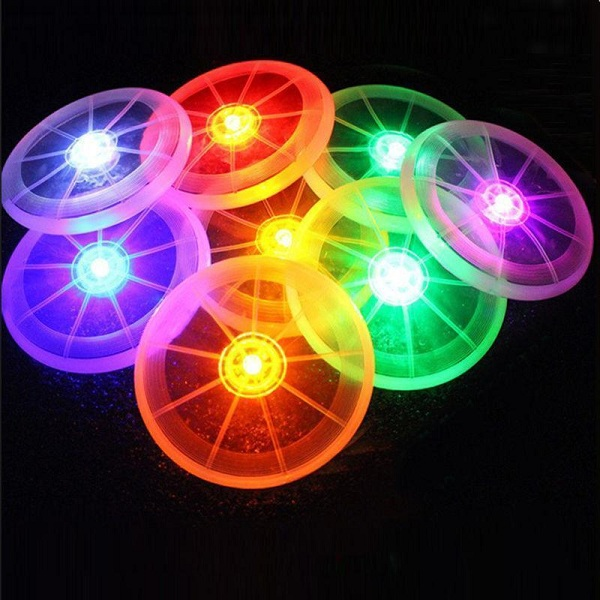 Mrosaa 1pcs LED Lights Pet Flying Disc Flashflight Dog Sports Toy Pet Supplies Night Light Colorful Training Tool flying disc