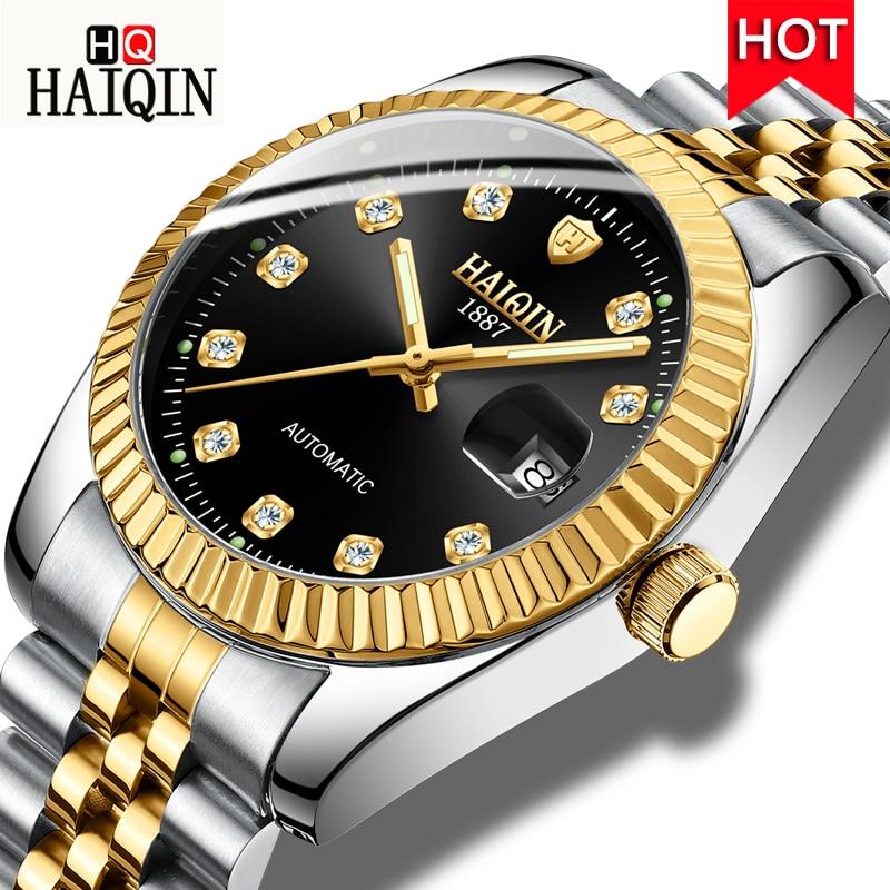 HAIQIN New Luxury Men Mechanical Watch Fashion Design Wristwatch Automatic Self Wind Watch Men Calendar Clock