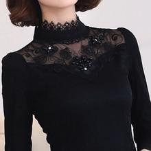 Korean Winter Velvet Tops Tee Women Bleading Lace T-Shirt Plus Size Thickening Basic Turtleneck Shirt Women long-Sleeve T-shirts