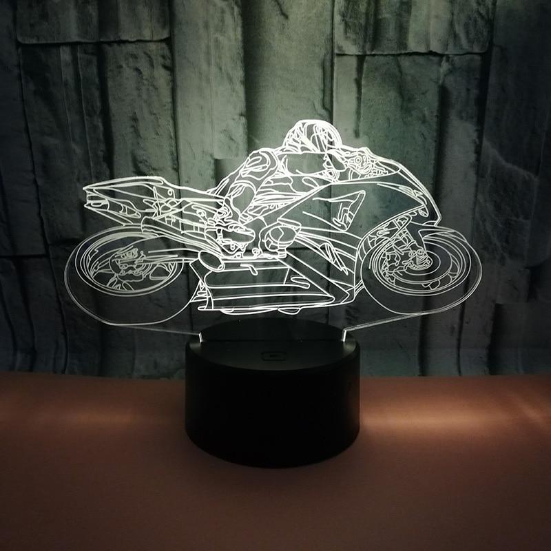 Tool Creative USB LED 3D Lamp LED Motorcycle Model 3D Sensor Night Light Atmosphere Lamp For kid Bedroom Lights Holiday