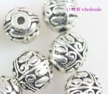 OMH grosir Gratis kapal 12 pcs tibet perak manik-manik spacer logam Perhiasan 7.5X7mm ZL120(China)