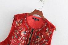 Women Vintage flower embroidery vest