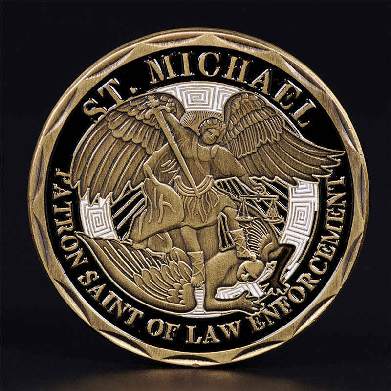St Michael Police Officer Badge Challenge Coin Patron Saint Law Enforcement PD