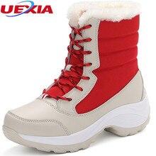 Invierno de Las Mujeres Zapatos Femeninos de Nieve Botines de Piel Caliente y Felpa de Algodón Interior Dulce Antideslizantes Para Botas Casuales Botas de Mujer Femenina Plataforma