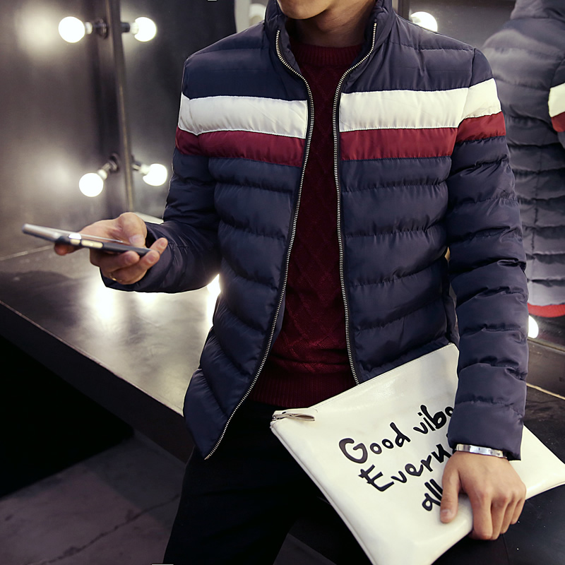 The winter cotton padded jacket with fleece collar thickened male adolescent Korean cultivating cotton casual jacket cold