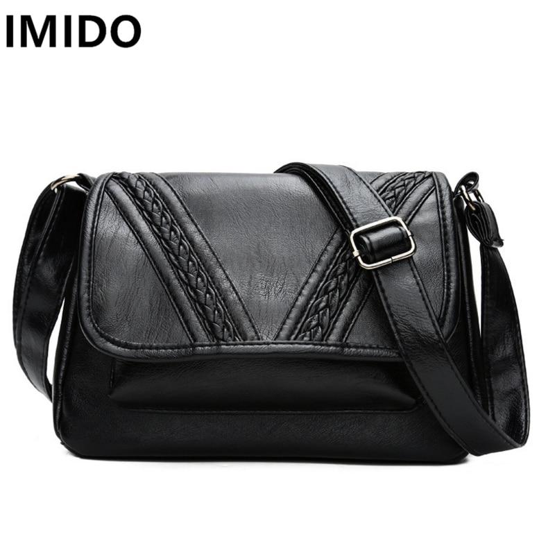 IMIDO Water Wash PU Leather Female Bags Large Capacity Traveling Women Messenger Bags Black Color Handbags Shoulder Crossbody Ba