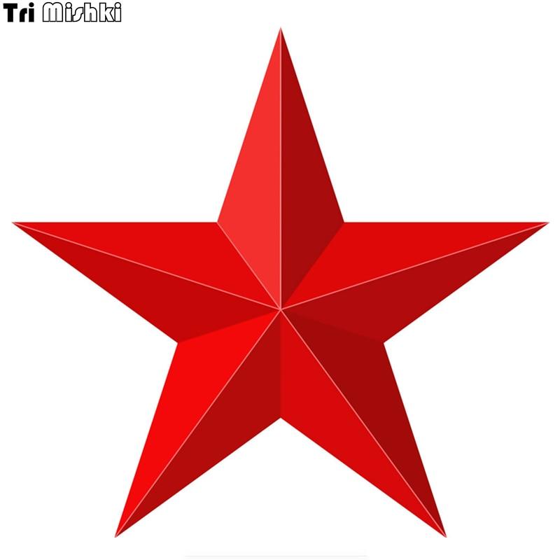 Tri Mishki WCS137 14*15cm Red Star 3D Shape Car Sticker Funny Colorful Car Stickers Auto Automobile Decals