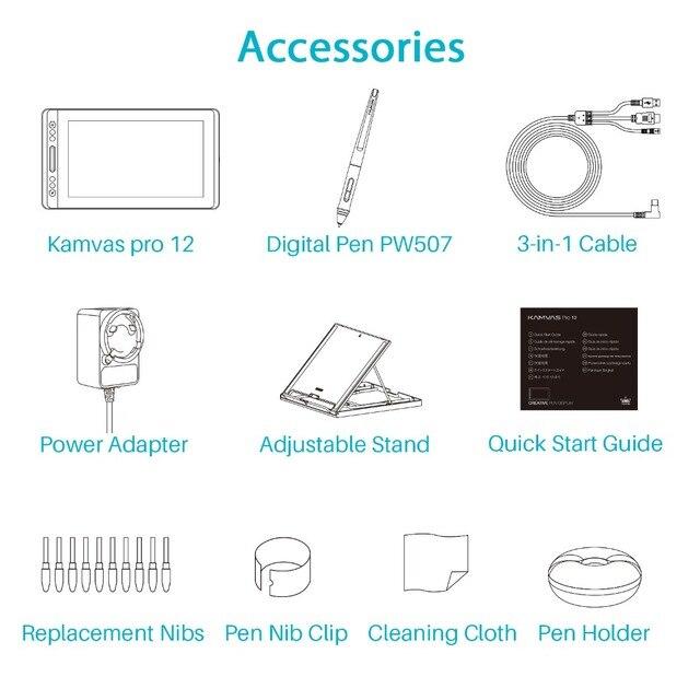 Huion kamvas pro 12 GT-116 tablet digital bateria-livre caneta exibição desenho tablet monitor com função de inclinação ag barra de toque de vidro 5