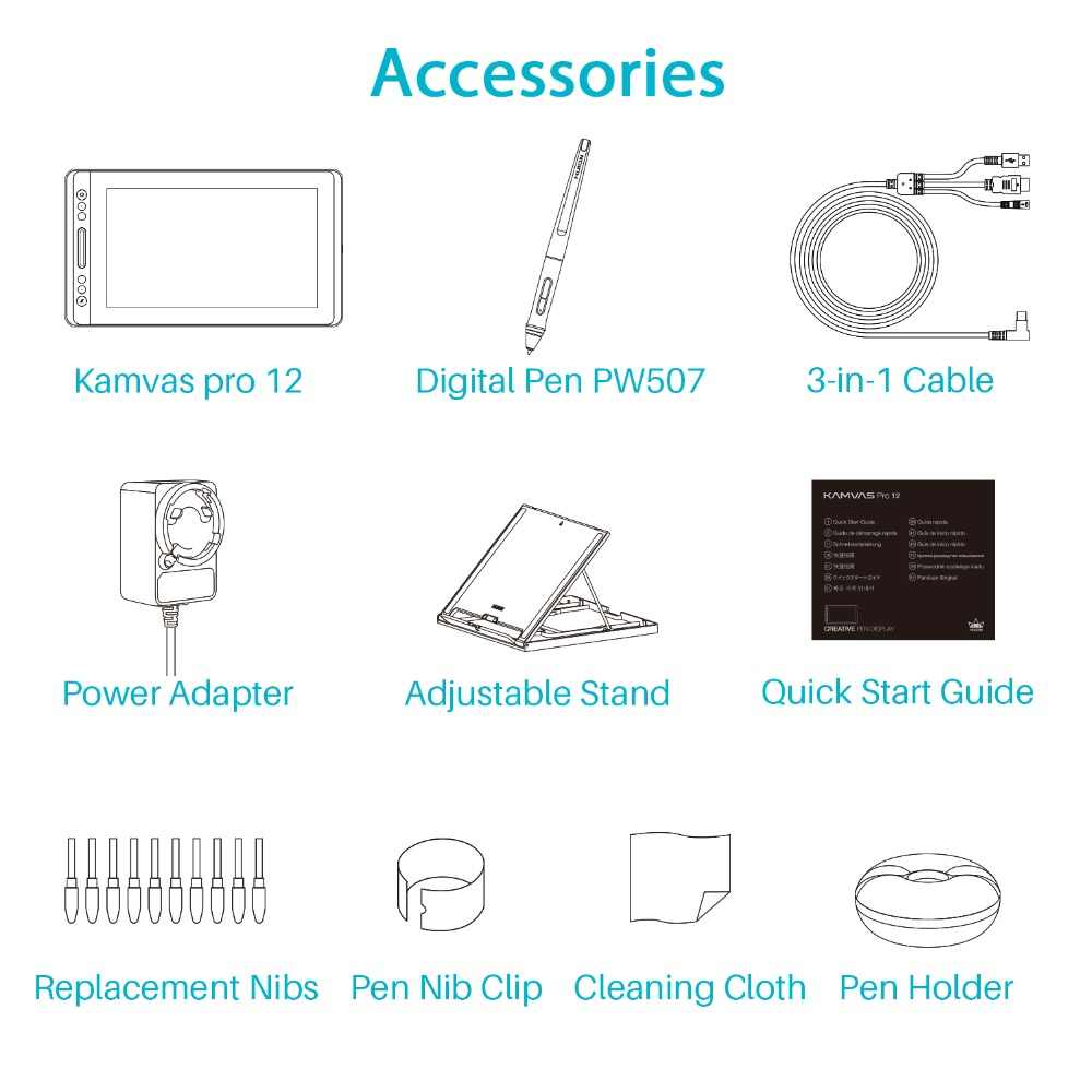 HUION KAMVAS פרו 12 GT-116 דיגיטלי Tablet סוללה-משלוח עט תצוגת ציור Tablet צג עם פונקצית הטיה AG זכוכית מגע בר