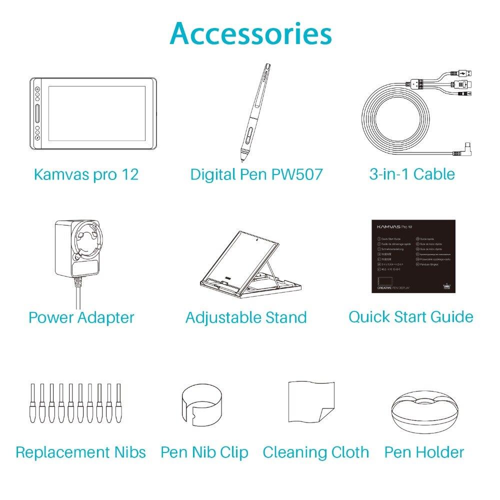HUION KAMVAS Pro 12 GT-116 tablette numérique Batterie-stylo gratuit Affichage tablette de dessin Moniteur avec Fonction D'inclinaison AG Tactile En Verre Bar - 6