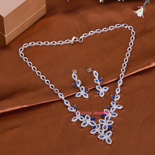 S212131 new elegant blue crystal flower set zinc alloy silver color rose gold color necklace with earring fashion lady jewelry