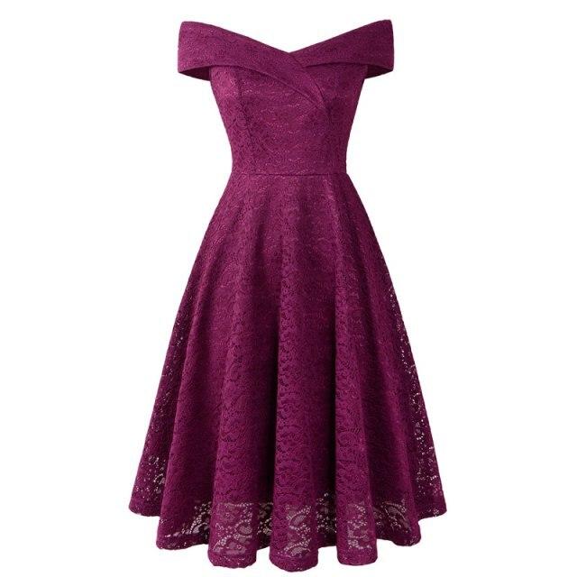 Коктейльные платья сексуальное бордовое кружевное короткое платье для вечеринки длиной до колена ТРАПЕЦИЕВИДНОЕ ПЛАТЬЕ С v-образным вырезом без рукавов - Цвет: deep purple