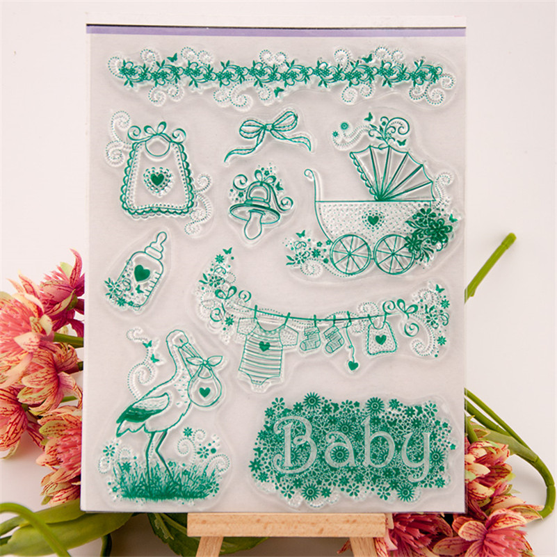 2016 new paper craft stamps Scrapbook DIY Photo Album silicone clear Stamps about baby car for kid paper card RZ-156 jwhcj vintage cat date wood roller stamps for children diy handmade scrapbook photo album diary book decoration students stamps