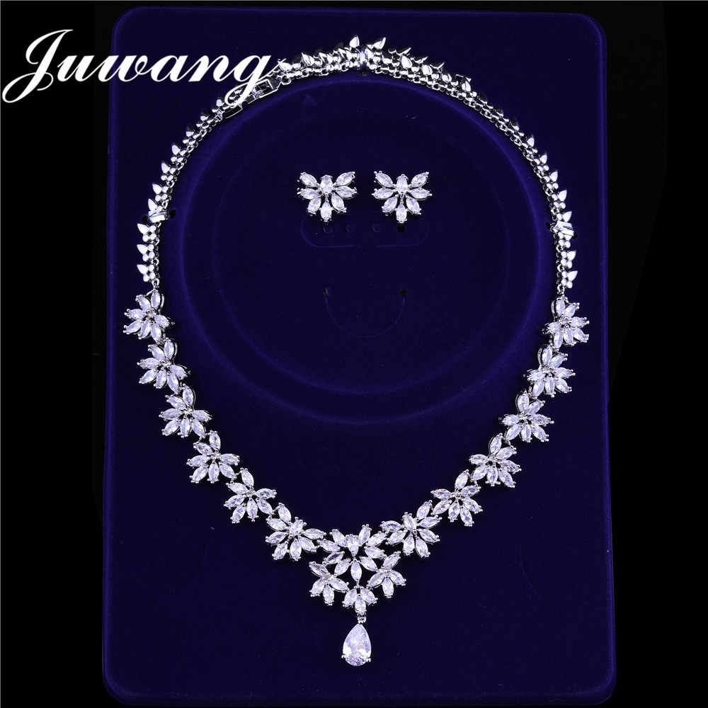 JUWANG Brand Luxury Bridal Jewelry Sets for Woman Costume Jewelry Cubic Zircons Dubai White Gold Earrings Necklace Wedding Sets
