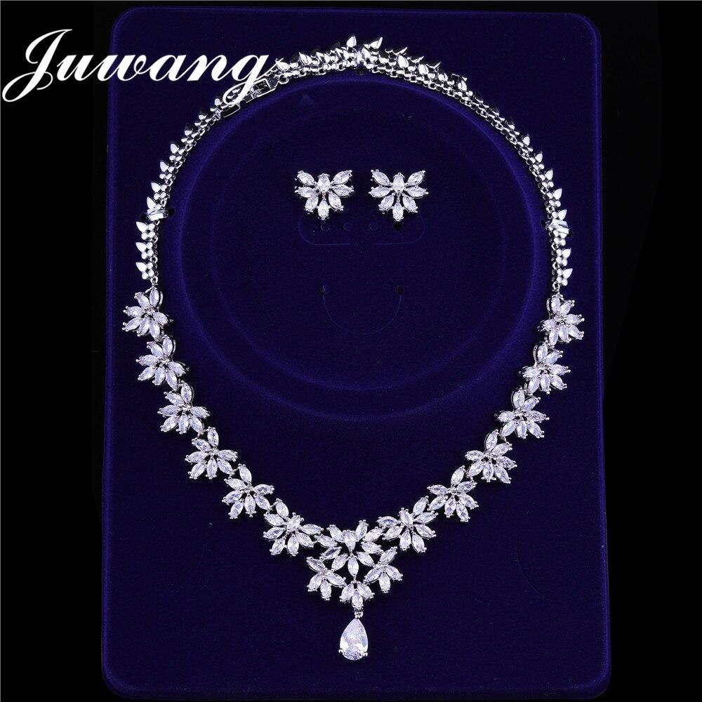 JUWANG מותג יוקרה כלה תכשיטי סטי תכשיטים אישה מעוקב זירקונים דובאי לבן זהב עגילי שרשרת סטי חתונה