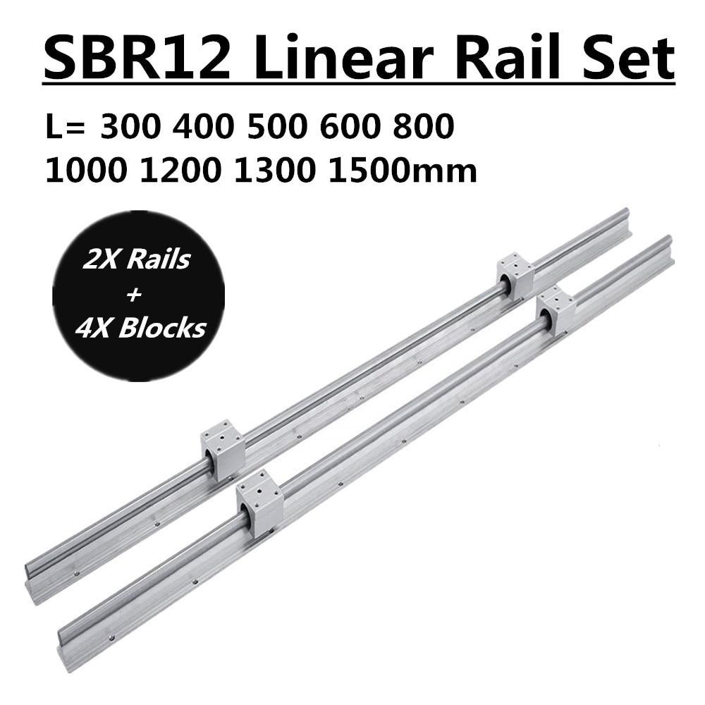 2 conjunto sbr12 300 400 500 600 800 1000 1200 1300 1500mm totalmente suportado trilho linear haste do eixo deslizante com 4 peças sbr12uu rolamento bloco