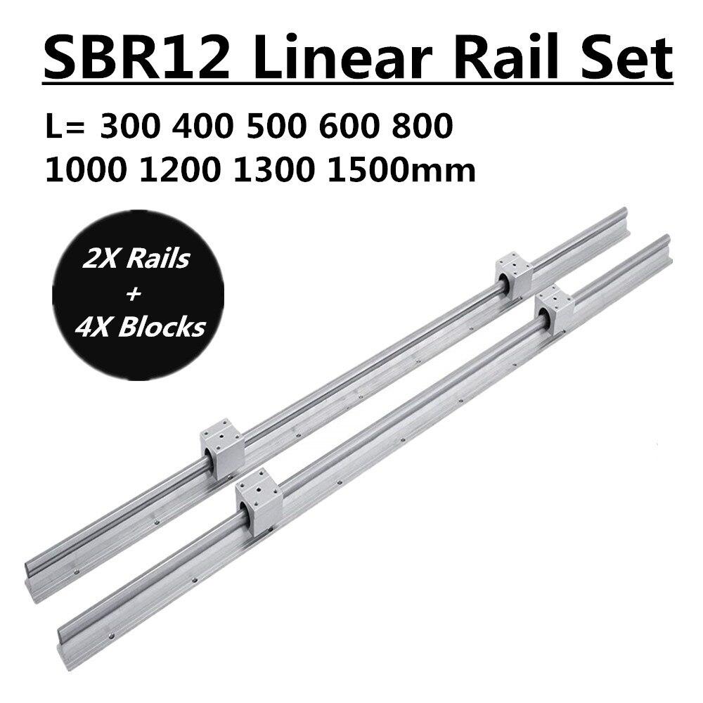 2 Set SBR12 300 400 500 600 800 1000 1200 1300 1500mm Vollständig Unterstützt Linear Schiene Rutsche Welle Stange mit 4 Pcs SBR12UU Lager Block