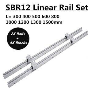 Image 1 - 2Set SBR12 300 400 500 600 800 1000 1200 1300 1500mm Fully Supported Linear Rail Slide Shaft Rod With 4Pcs SBR12UU Bearing Block