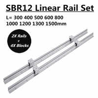 2Set SBR12 300 400 500 600 800 1000 1200 1300 1500mm Fully Supported Linear Rail Slide Shaft Rod With 4Pcs SBR12UU Bearing Block