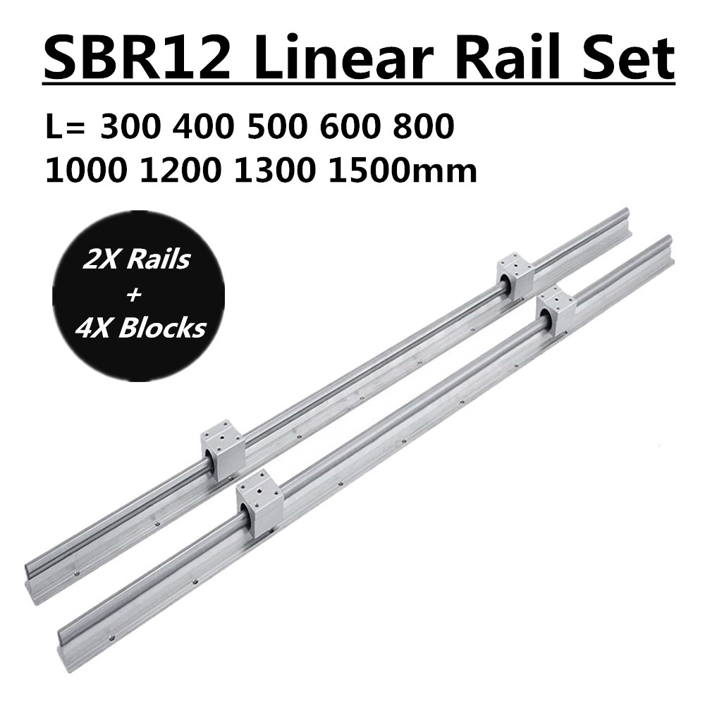 Conjunto 2 SBR12 300 400 500 600 800 1000 1200 1300 milímetros 1500mm Totalmente Suportado Linear Trilho Deslizante do Eixo Rod com 4Pcs SBR12UU Rolamento do Bloco