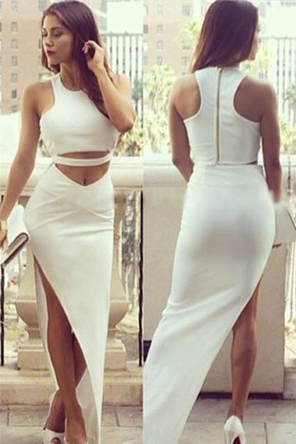 435fc7fa4645f 2015 New Arrival Wholesale Sleeveless Crop Top Asymmetric Maxi Skirt Set  LC60449 Party White Slit Maxi 2 Piece Skirt Set Online. Price