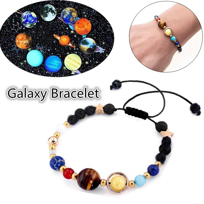 2018 Fashion New Bracelet Galaxy Solar System Eight Planets Theme Natural Stone Beaded Gift Charm Jewelry