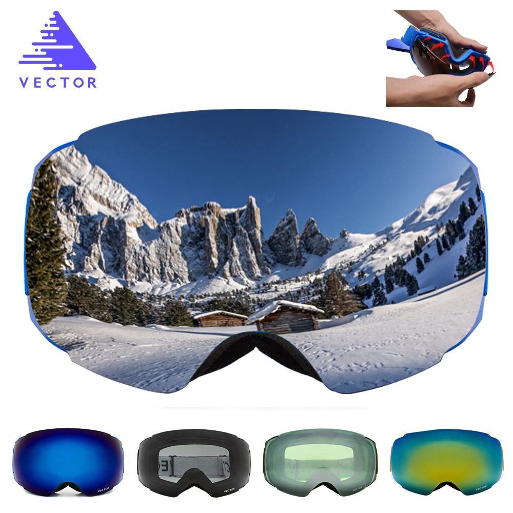 VECTOR Brand Ski Goggles Double UV400 Anti-fog New Big Ski Mask Glasses Skiing Professional Men Women Snow Snowboard Goggles new copozz brand professional ski goggles double lens uv400 anti fog big spherical ski glasses skiing men women snow goggles