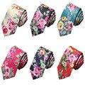 Hombres moda 5 cm flores finas Skinny Ties impresión Floral del partido corbata TSBWT0002