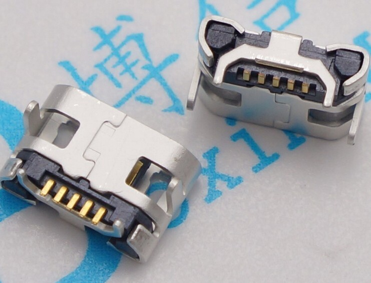 100pcs Micro USB 5pin no side Ox horn female usb socket Flat mouth four legs socket mini usb connector Free shipping
