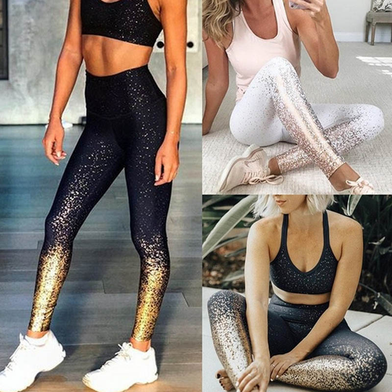 Sexy Women Shine Gold Print Sporting   Leggings   High Waist Hip Push Up Pants Women Fashion 2019 Plus Size   Leggings   Workout Casual