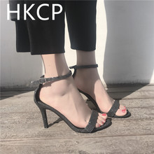HKCP Fashion High-heeled shoes female 2019 summer new sexy sequins fairy wind stiletto buckle sandals C337