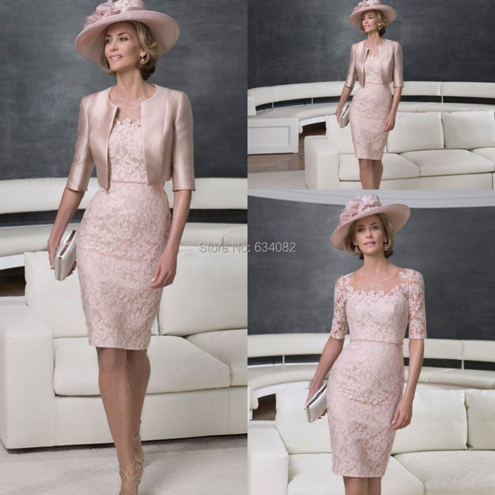 Pink Lace and Satin Mother Of The Bride Dresses with Short Sleeve Jacket Free Shipping Scoop Neck Evening Gown 2015