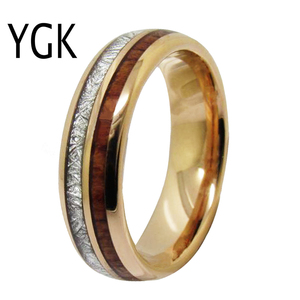 Image 2 - Mens Classic Love Jewelry Trendy Wedding Ring For Women Rose Golden Tungsten Ring Meteorite Wood Inlay Engagement Ring