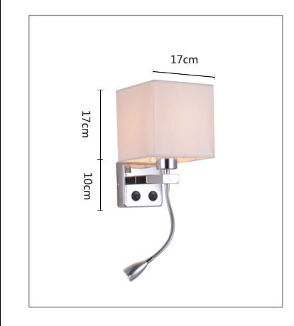 Modern brief bedside wall lamps 1w led reading light lamp ikea wall bed hose rocker arm Reading wall lighting fabric lampshade (11)