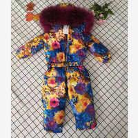 Gros enfants doudoune hiver à capuche neige porter plus épais vêtements d'extérieur chauds réel fourrure col fleur imprimer Modis doudoune manteau Y1719