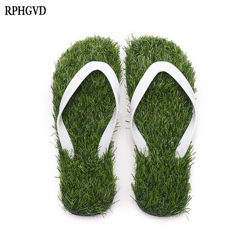 Lawn Flip-flops For Men Women 2019 Summer Fashion Simulation Personality Grass Slippers Couple Models Outdoor Beach Shoes Me(China)