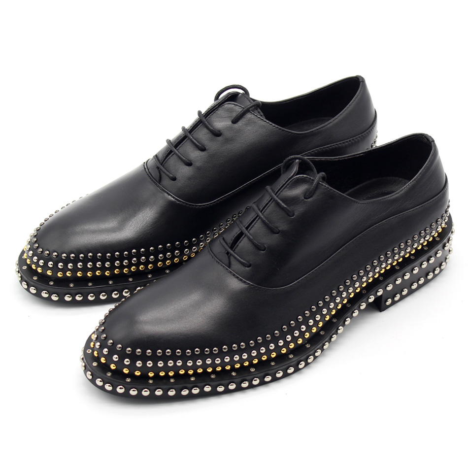 Best quality handmade cool rivets shoes genuine leather pointed lace up leather shoes gold/silver rivets Oxfords shoes men EU45