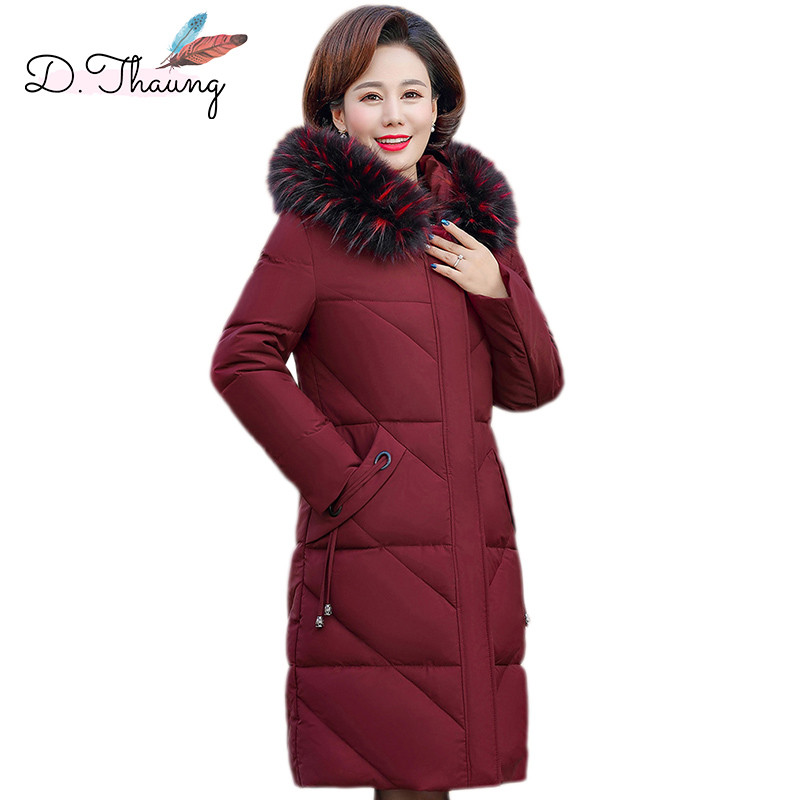Winter Women Jacket Middle Old Aged Mid-Long Loose Female Down Cotton Coat Large Size Hooded Fur Collar Warm Ladies   Parkas   Cw649