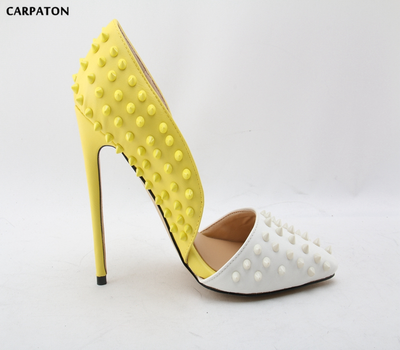 Carpaton 2018 Newest Women Yellow and White mosaic Fashion Pointed Toe Thin high heels shoes Girl Dating must-haves