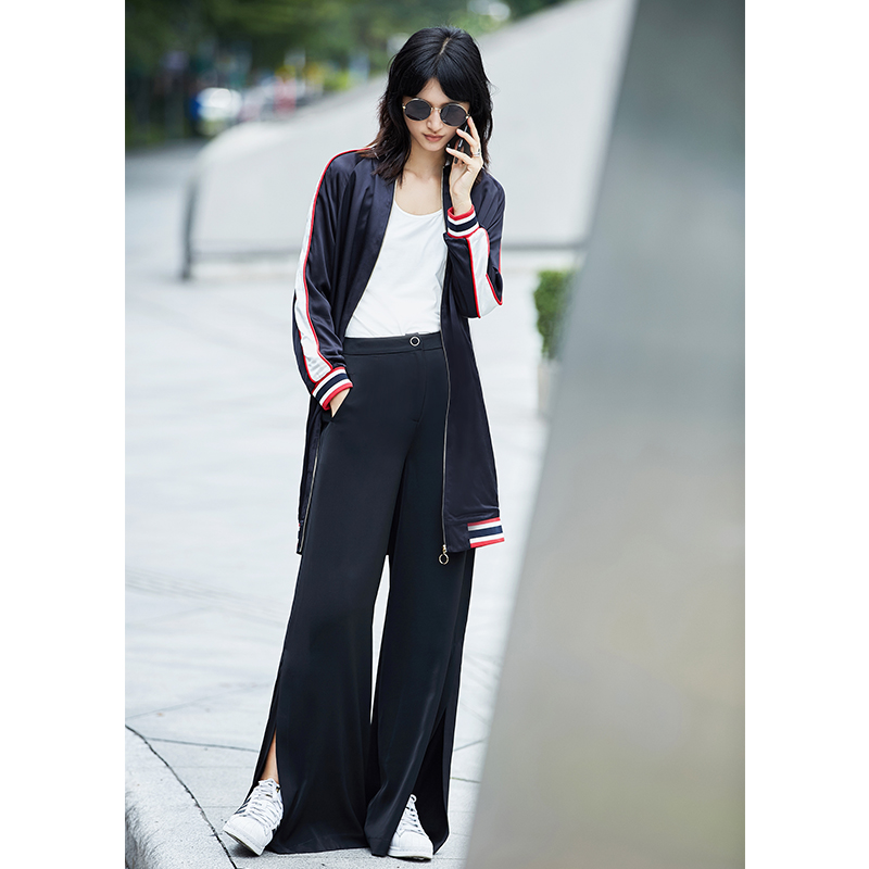 Amii Casual Women Jacket 2018 Stripe Baseball Long Zipper Female Jackets