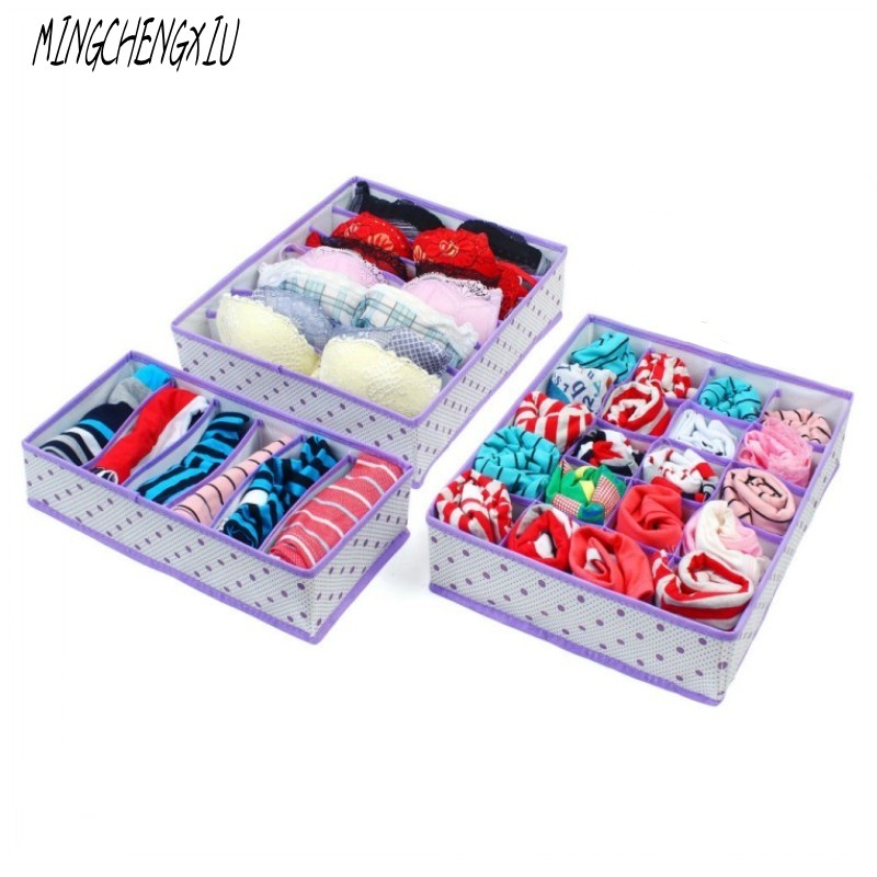 3PC Underwear Bra Storage Box Circle Dots Storage Organizadores Closet Drawer Cases Organizer For Clothes Intimate Bra Socks